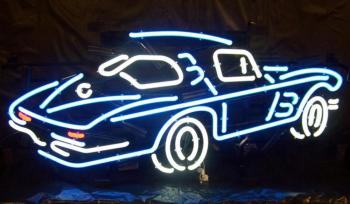 Custom Corvette Car Glass Neon Light Beer Bar