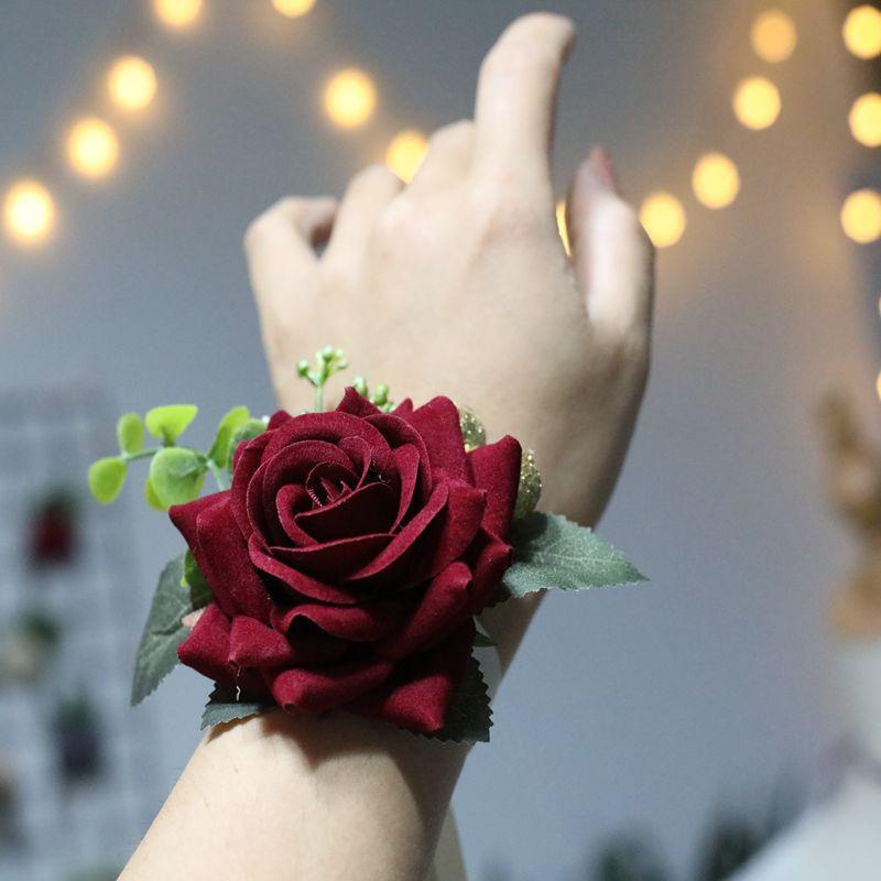 Bridemaids Accessoirs Rose Brooch Silk Corsage Bracelet Wedding Bracelets Corsages Prom Bracelets Hand Corsage Flowers Wrist Hot