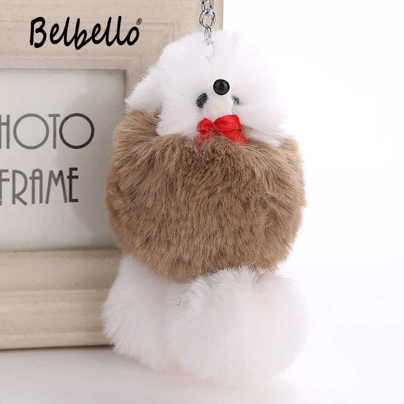 Bonito Do Cão Poodle de Pelúcia Chaveiros Chaveiro de Bolsa Pingente Fofo Animal de Estimação do Filhote de Cachorro Pingente Para Chave Do Carro Anel de Mulheres Faux Pele De Coelho jóias