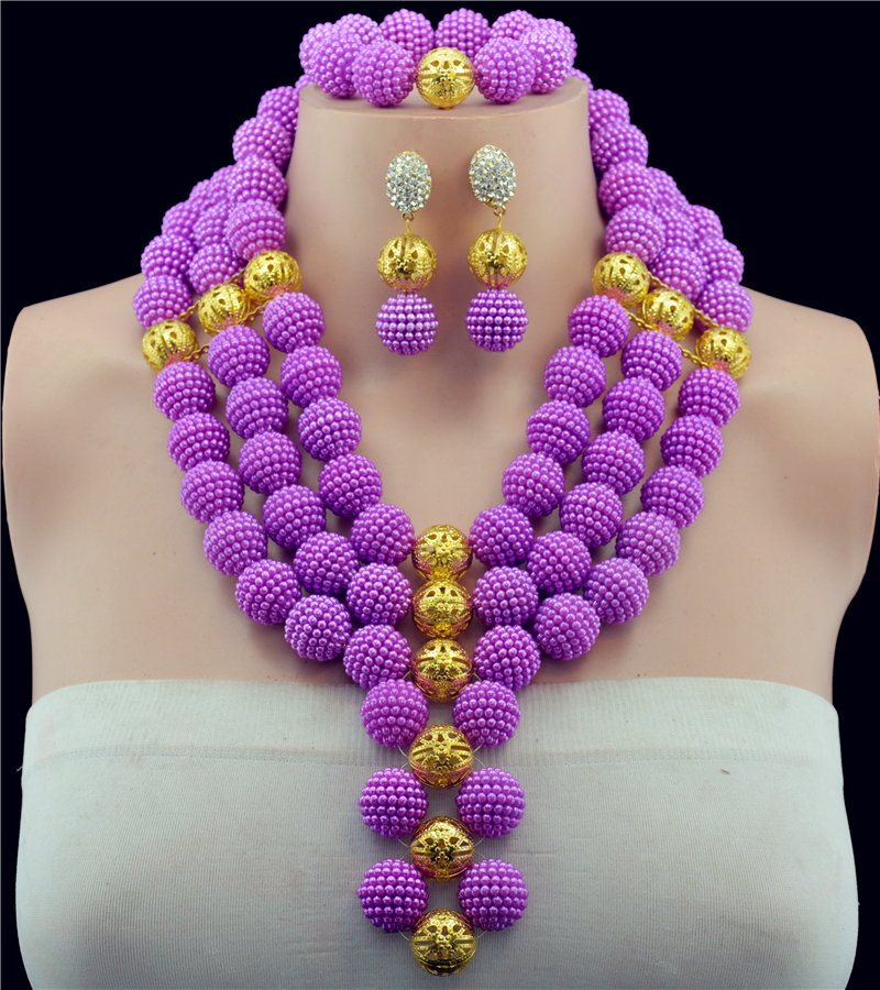 Luxurious Wedding Bridal Jewelry Sets Balls&Crystal Purple African Beads Jewelry Set Necklace Earrings Set Free Shipping HX719
