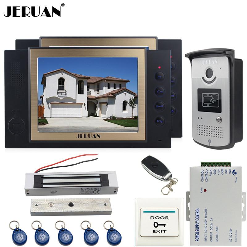 JERUAN two 8`` LCD Video Door Phone System 700TVT Camera access Control System+Magnetic lock+Remote control+8GB card jeruan black 8 lcd video door phone system 700tvt camera access control system cathode lock remote control 8gb card