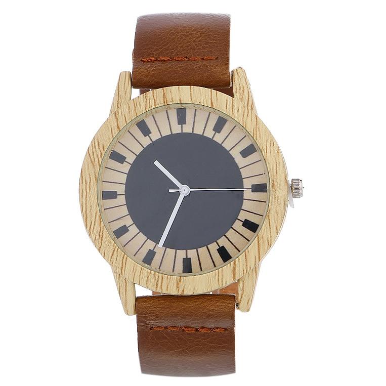 New Casual Fashion Leather Strap Quartz Watch Female Korean Students Simple Imitati Wooden Men Women Fashion Watches Reloj Mujer