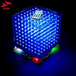 Zirrfa 3D8 mini Cubeeds с отличной анимацией/3D CUBEEDS 8 8x8x8 Junior, светодиодный дисплей, светодиодный музыкальный спектр, электронный diy kit