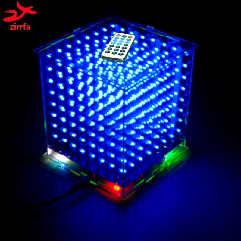 Zirrfa 3D8 Mini Cubeeds Com Excelentes Animações/3D CUBEEDS 8 8x8x8 Júnior, Exposição CONDUZIDA, Exposição CONDUZIDA Espectro Música, Kit Diy Eletrônico