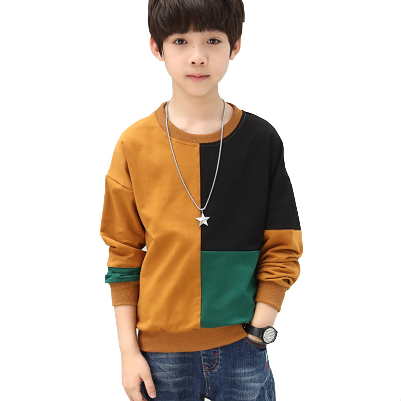 T-Shirt Children Tops Long-Sleeve Boys Kids 12-14-Years Basic Autumn Cotton New Patchwork