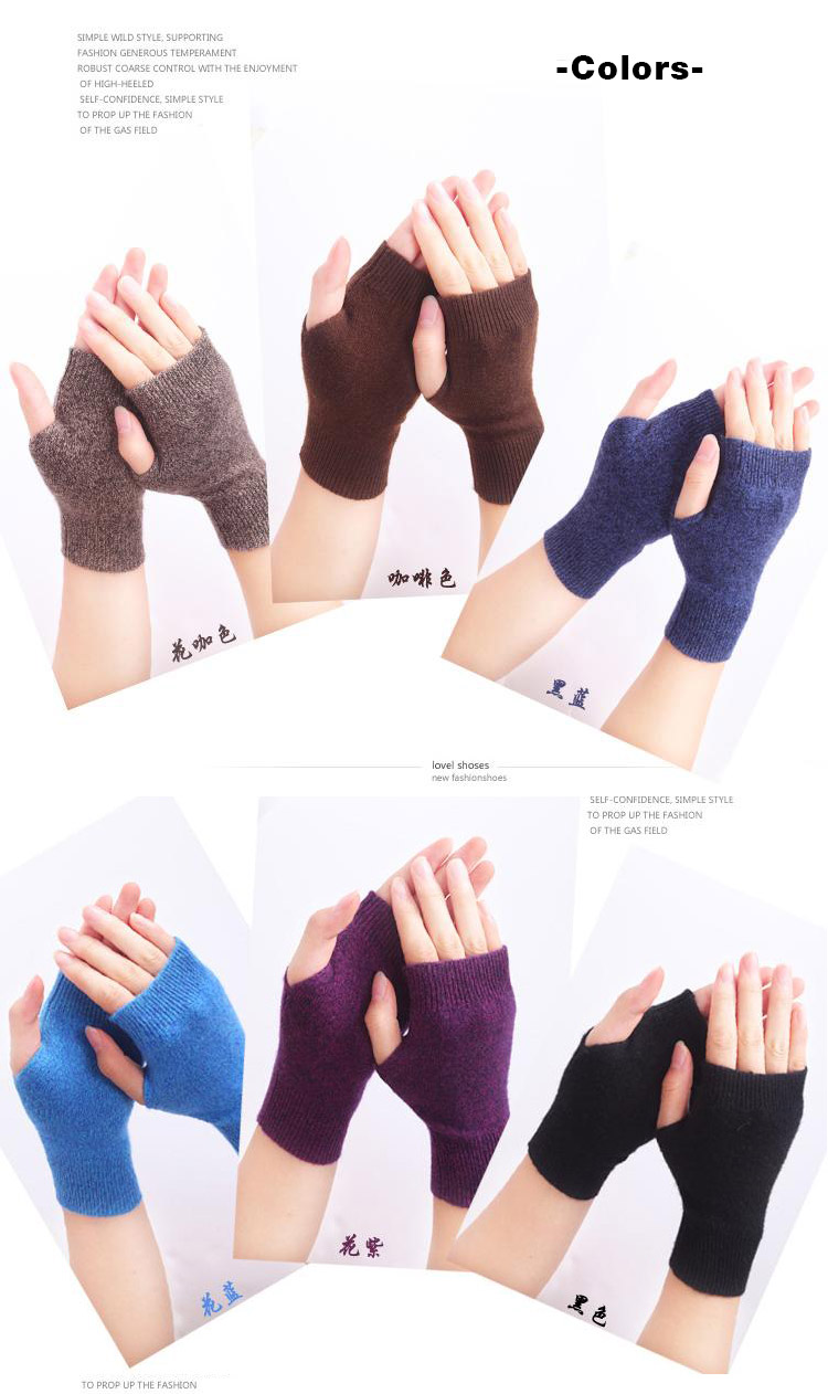 HTB1dUqPGFXXXXbCXFXXq6xXFXXXM - Genuine Fine Sheep Wool Mitt Exposed Finger Women's Gloves Winter Autumn Knitted for Women Fingerless Gloves Wrist Mittens