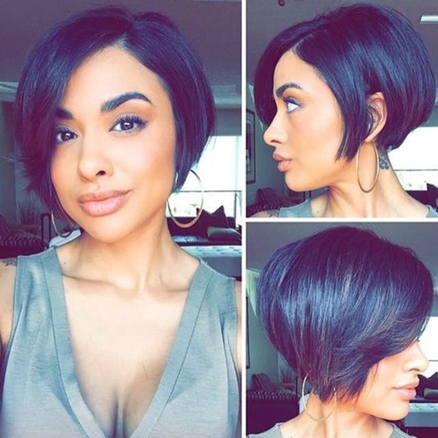 Full Lace Front Human Hair Bob Wigs Black Women Short Human Hair