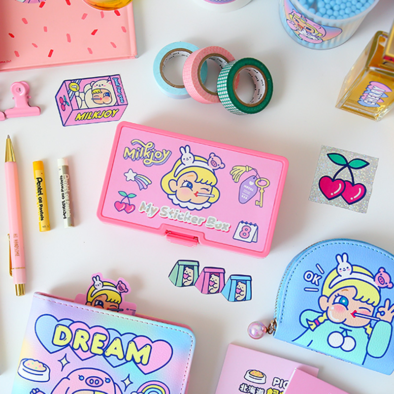 Pink Girl Cute Cartoon PVC Stickers Pack 14.5*8.5*3.5cm DIY  Deco   Korean Fashion