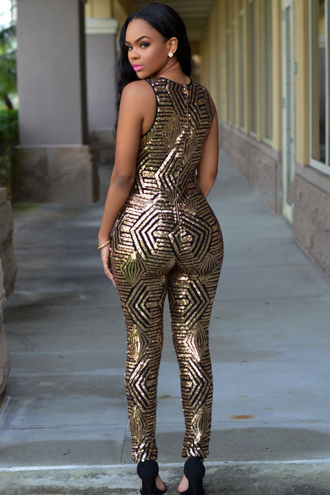 111bd27e18 Sexy Ladies Summer Black Gold Geometric Sleeveless Long Sequin ...