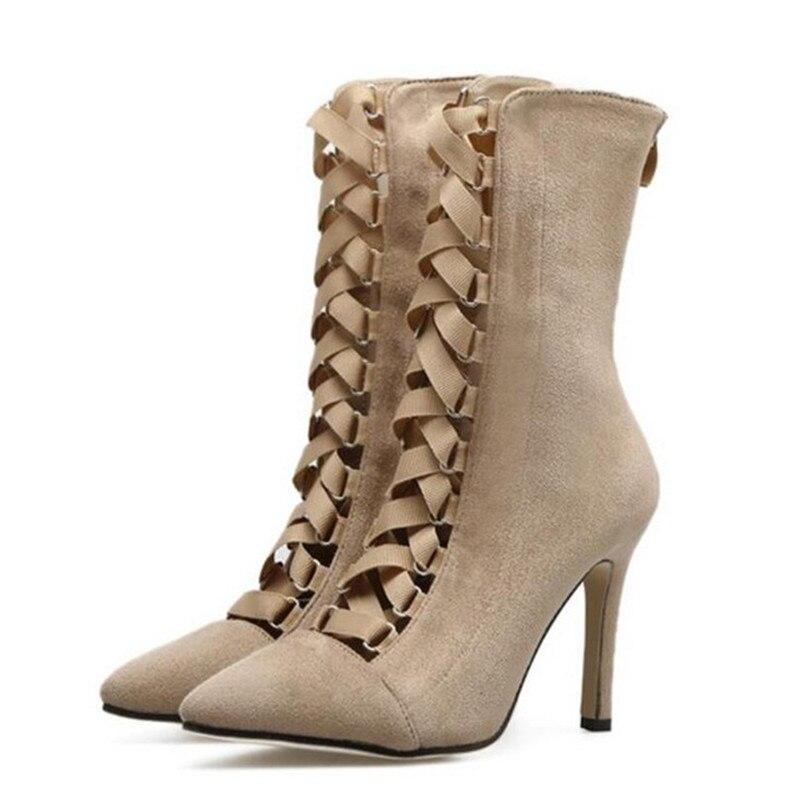 3 Genua 4 Bayuxshuo Spitze Schuhe Sandale 2 Pompes 1 À Haute Stiefel Up Spitz Talons Damen Gladiateur Lanières Stiletto Chaussons 2018 5 Frau 1RqdY1