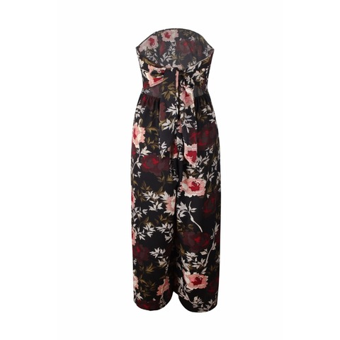 BUYSD Women Off Shoulder Floral Print Sexy Jumpsuits Wide Leg Pants Backless Strappy Playsuits Summer Causal Rompers Bodysuits Karachi