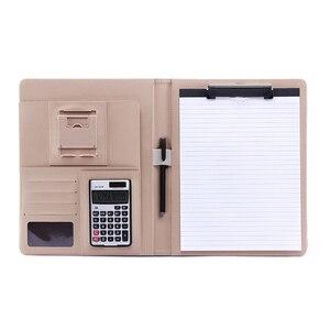A4 بو حافظة جلدية Padfolio وظيفة التنفيذي متعددة الوظائف مكتب منظم مخطط دفتر المدرسة مكتب مجلد للمستندات