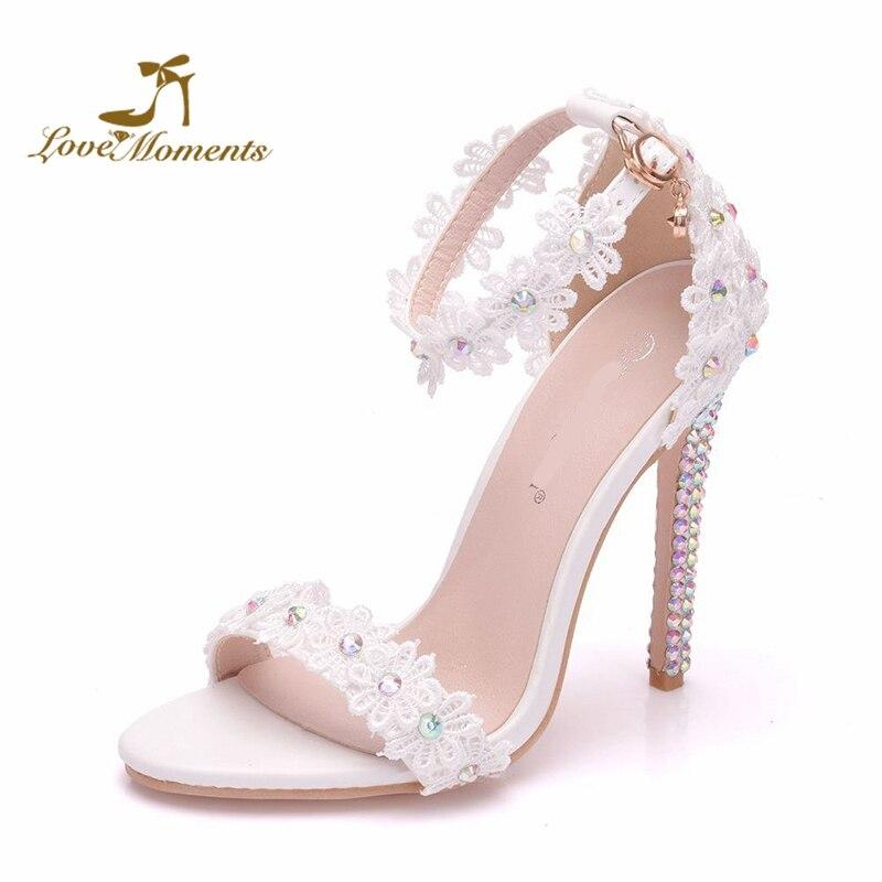 Rhinestone Heel White Lace Bridal Wedding Shoes Female