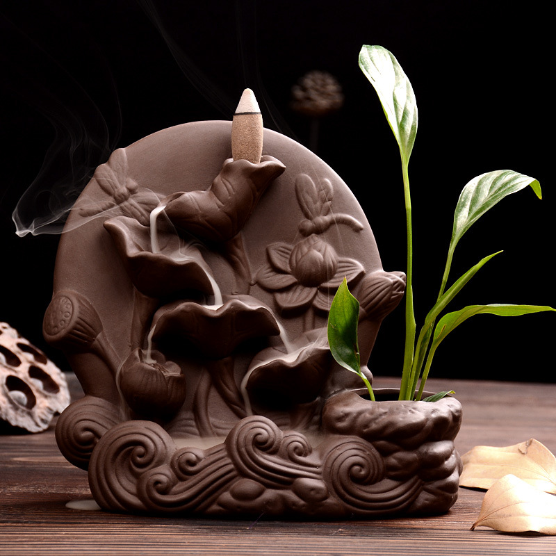 The Landscape Burner Lotus Leaf Censer Home Decor Creative Smoke Backflow Incense Cones Burner Incense Holder