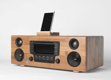 50w solid bamboo wood bookshelf CD player speaker hifi music support am fm usb tf aux