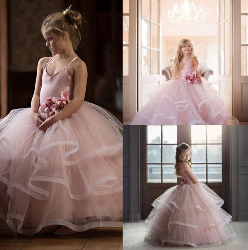 Pink Spaghetti straps ball gown girl dress flower tutu princess kids dresses for girls silver gray purple pink blue ball gown tutu soft tulle puffy flower girl dress baby 1 year birthday dress with spaghetti straps