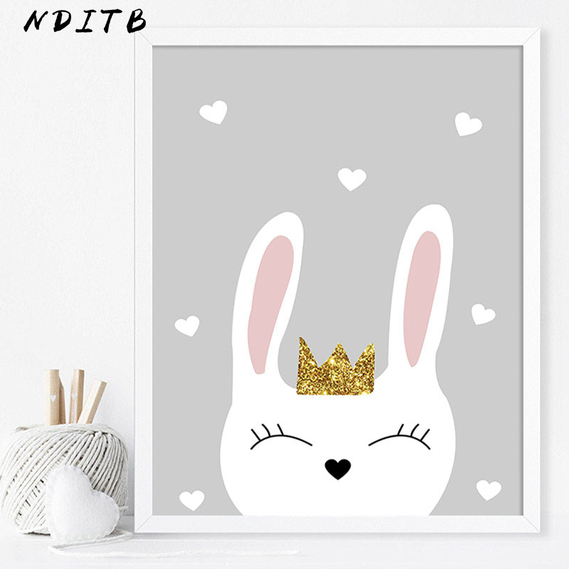NDITB Rabbit Cloud Canvas Poster Cartoon Nursery Wall Art Print Painting Nordic Kids Decoration Pictures Baby Bedroom Decor in Painting Calligraphy from Home Garden