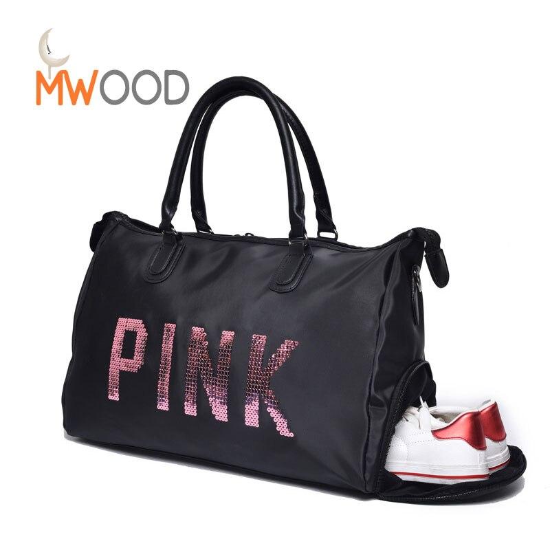 Moon Wood Pink Sequins Black Travel Handbag Women Luggage To
