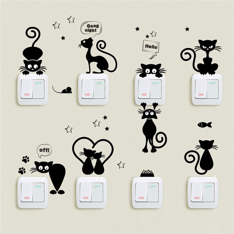 Fashion Lovely Cat Switch Wall Stickers Bathroom Cartoon Home Living Room Bedroom Home Decor Christmas Gifts Car Computer Decors