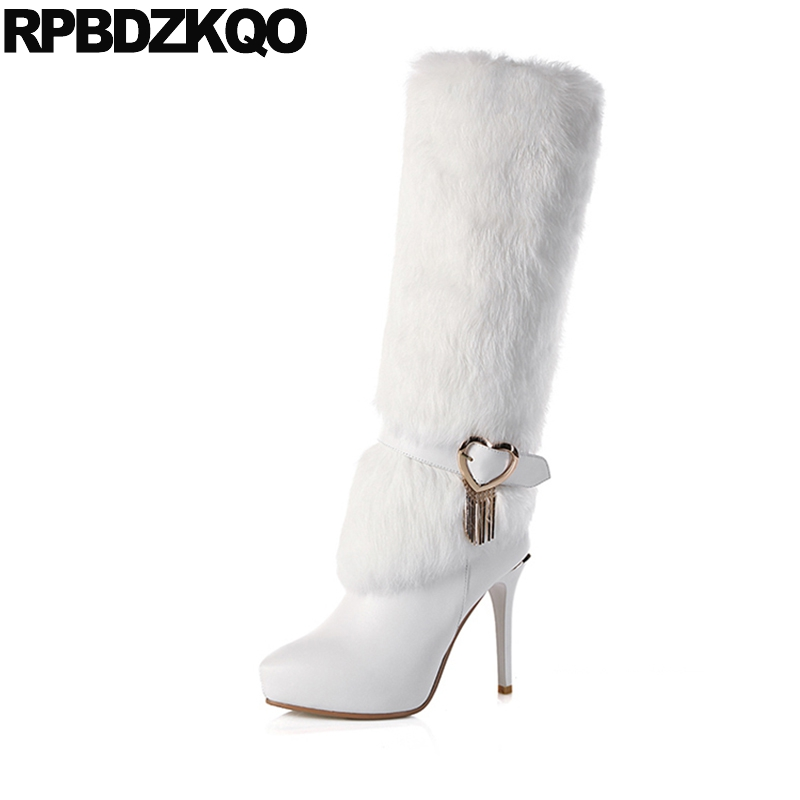Slim High Heel Sexy Real Fur Luxury Tall Long Mid Calf Knee Brand Women Winter Boots Genuine Leather Pointed Toe White Metal 2018 new arrival fashion winter shoe genuine leather pointed toe high heel handmade party runway zipper women mid calf boots l11