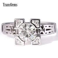 Transgems Solid 18K White Gold 1ct Moissanite Diamond Jewelry Wedding Anniversary Band Engagement Ring for women