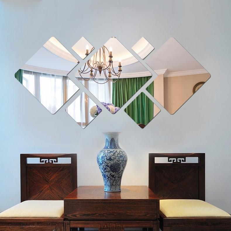 unids d perspectiva de color patrn de bloques cuadrados de acrlico espejo de cristal pegatinas