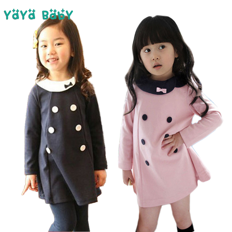 Long Sleeve Girls Dress 2018 New Cotton Cute Kids Dresses for Girls 1 2 3 4 5 6 7 8 Year Children Princess Clothing toddlers girls dots deer pleated cotton dress long sleeve dresses page 2