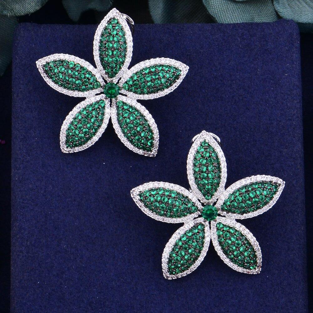 GODKI Oversized Big Flower Design Brand New Fashion Popular Luxury Cubic Zirconia Engagement Wedding Party Stud Earring