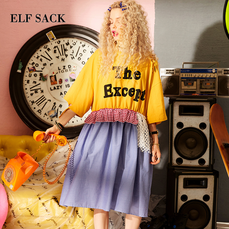 ELF SACK Women Vintage Collage Style Dresses Lace Up Loose Dresse Womens Mesh Ruffles Summer Letter