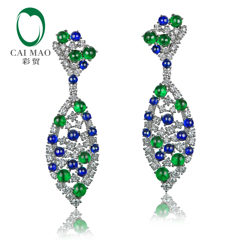 CAIMAO Natural 9.28ctw Cabochon Round Sapphires Emeralds and Diamonds Earrings 18kt Gold Retro English Lock For Women