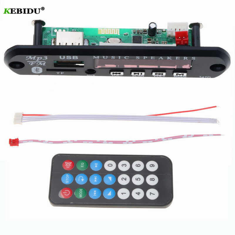 kebidu Wireless Bluetooth Audio Module  MP3 WMA Decoder Board USB TF FM Radio 5V 12V for Car Build in Car Speaker MP3 Player
