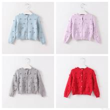 New Fashion Knitted Dots Sweater Cardigan Jackets Candy Color Fall Winter Cute Baby Kids Outwears