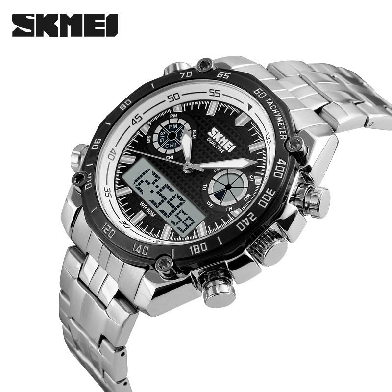 SKMEI Brand Men Sport Watch Full Stainless Steel Waterproof Male Quartz Digital Dual Display Wristwatches Relogio Masculino 1204 подвесная люстра eglo 49694