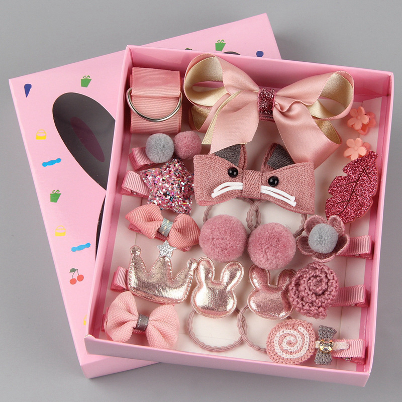 18pc Headwear Set Toys For Girls Children Accessories Ribbon Bow Hair Clip Hairpins Girl Princess Hairdress Beauty & Fashion Toy Barrette