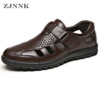 ZJNNK Men Leather Sandals Mature Style Genuine Leather Father Sandals Breathable Massage Shoes With Soft Soles