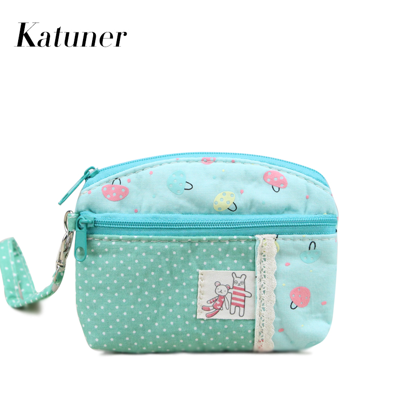 Katuner Fresh Women Canvas Coin Purse Kawaii Girls Wallet Children Kids Coin Pouch Female Change Purse Clutch Card Holders KB046 katuner new cute cartoon fruit ice sucker kids coin purse for girls wallet children women card holder porte monnaie kb032