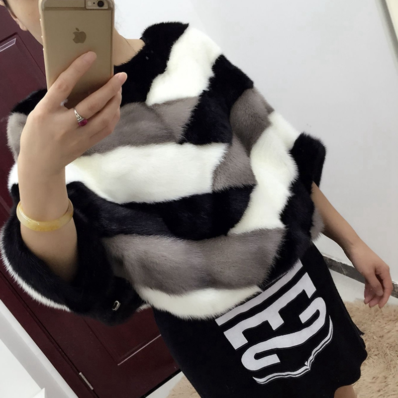 2017 natural 100 mink fur coat Luxury fur garment coat bat font b shirt b font