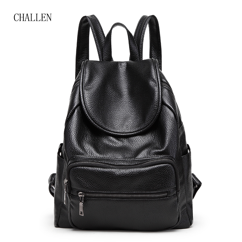 CHALLEN Famous Brand Women Backpack Luxury Designer Lady's Vintage Backpacks For Teenage Girls High Quality Leather Travel Bags high quality iron wire frame sun glasses women retro vintage 51mm round sn2180 men women brand designer lunettes oculos de sol