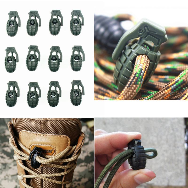 Shoe Lace Buck 10 Pcs EDC Outdoor Hiking Boots Shoes Grenade Shoelace Tightening Non-Slip Buckle Shoelace Buckle Clip Camping