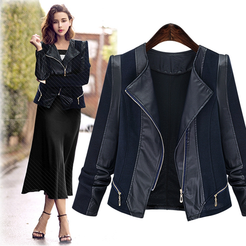 SWYIVY Women's Jackets PU   Leather   Jacket Coat Women/Autumn Winter Faux   Leather   Jackets Women Large Size Slim Short Coat Female