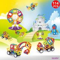 114 PCS Normale Taille Magnétique Blocs 3D Modèle de Construction Briques Enfants Éducatifs Jouets Ingénierie véhicule Grande roue