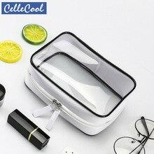 CelleCool Transparent Travel Cosmetic Bag Makeup Case Zipper Clear Make Up