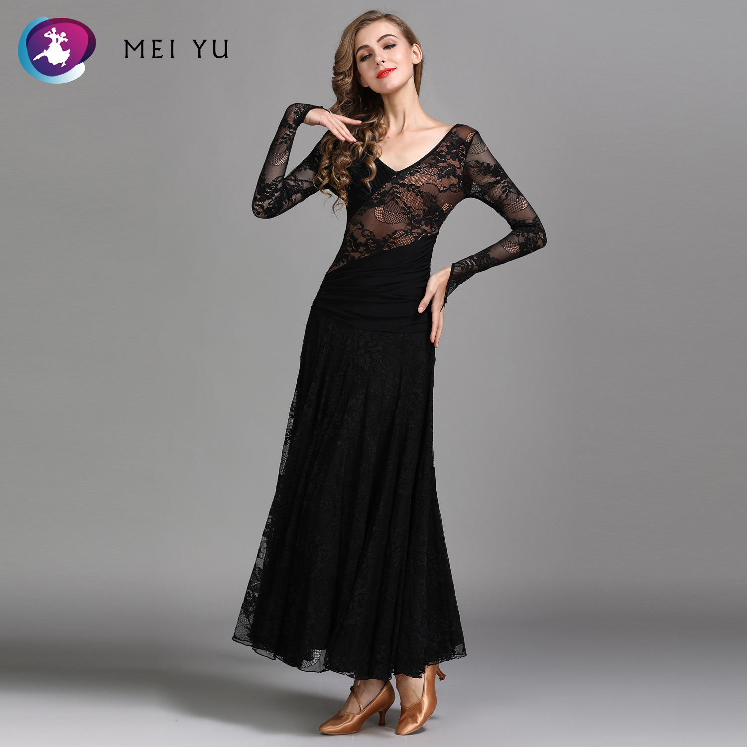 Stage & Dance Wear Mei Yu My790 Modern Dance Costume Women Lady Adult Waltzing Tango Lace Dancing Dress Ballroom Costume Evening Party Dress Novelty & Special Use