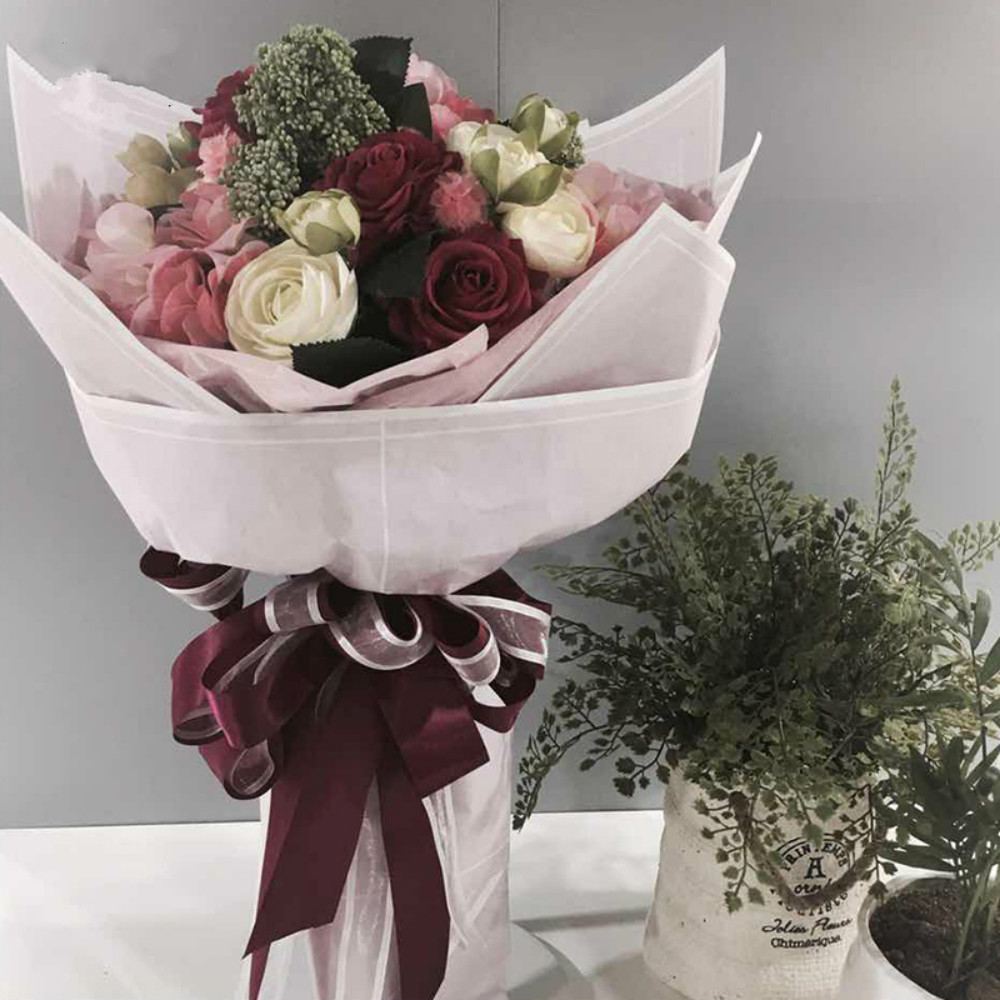 Korean Gift Wrapping Paper Flowers Bouquet Packaging Striped Florist