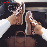 Brand Design Elyse Star Lace Up Flat Women Causal Shoes Classic Fashion Metallic Leather Platform Oxford