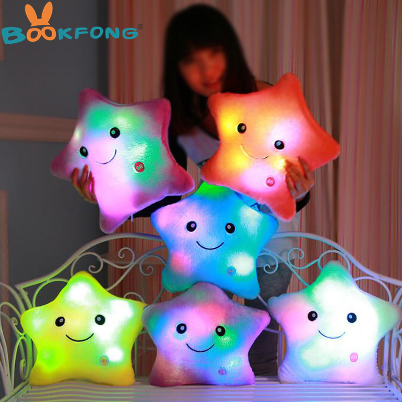BOOKFONG Luminous pillow Christmas Toys Led Light Pillow,plush Pillow, Hot Colorful Stars,kids Toys, Christmas Gift colorful led plush toys with music and sound light emitting pillow high quality dog