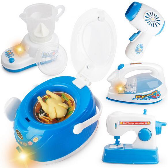 Blue Mini Electric Various Pretend Play font b Toys b font Simulation Kitchen Household Appliances font