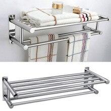 Modern Fashion Premium Aluminum Double Row Chrome Wall Mounted Bathroom Towel Holder Shelf Storage Rack Rall