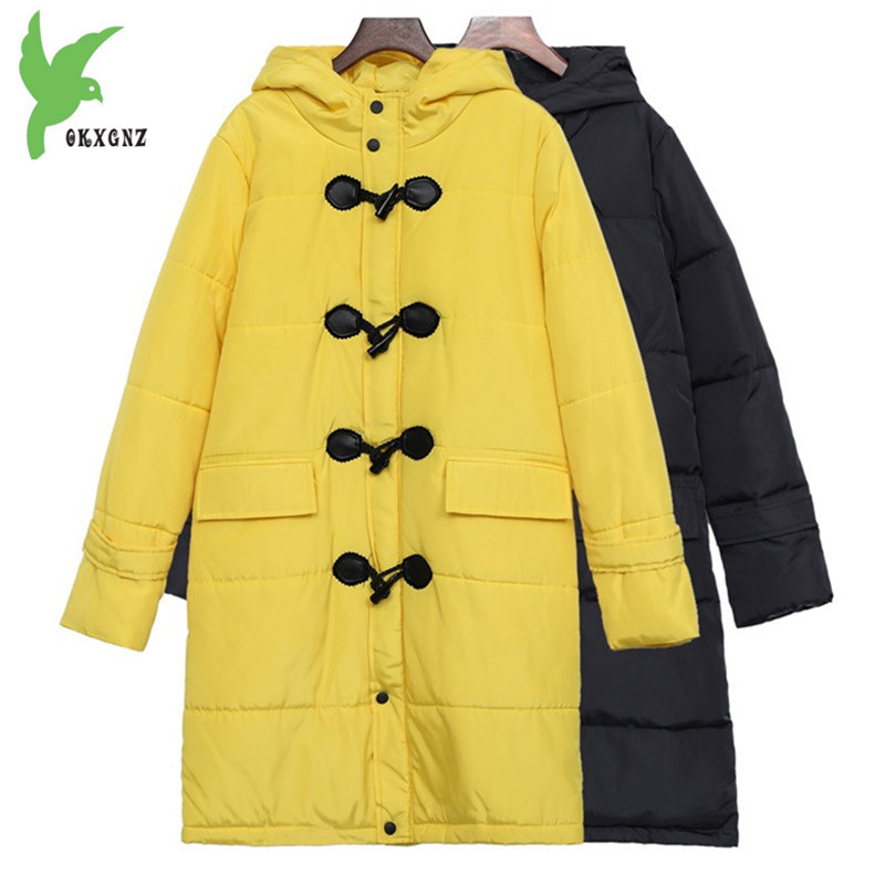 Plus size Women winter down cotton jackets new Loose warm   parkas   Hooded Outerwear female Cotton jacket 100KG can wear OKXGNZ1340