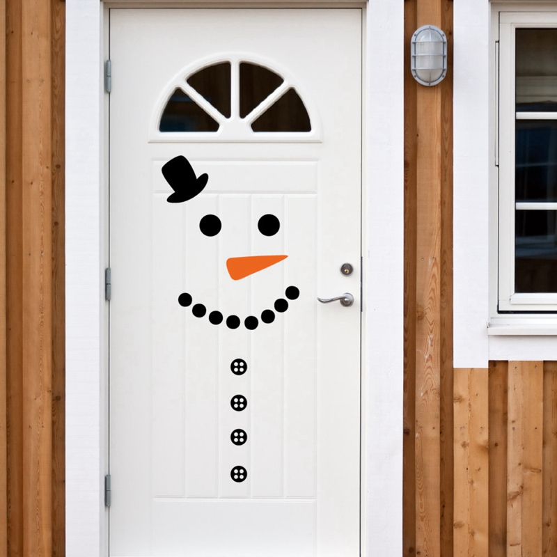 Snowman decal front door fridge christmas decor vinyl wall for Decorar las puertas en navidad